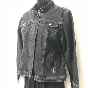 CAbi Black Denim Jacket Size Medium